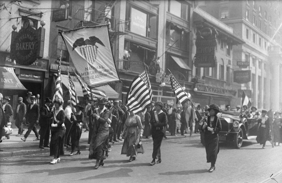 Suffragists Welcoming Home Carrie Chapman Catt, president of the American National Woman Suffrage Association