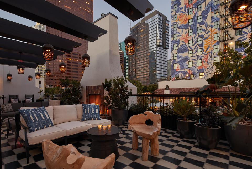 Exotic Exterior lounge of Hotel Figueroa