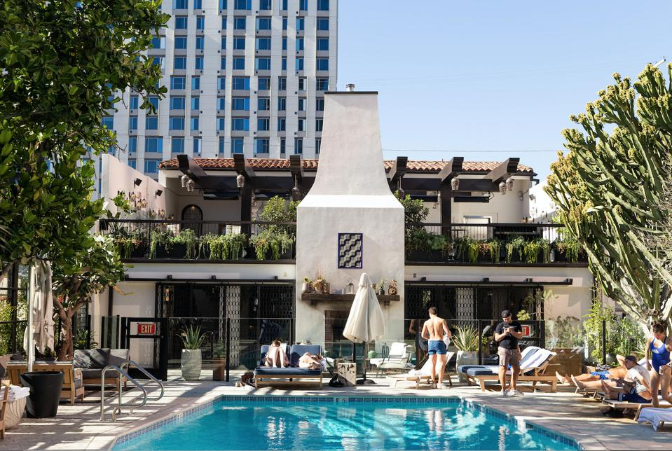 The pool at the iconic Hotel Figueroa, where there are now as many men as woman.