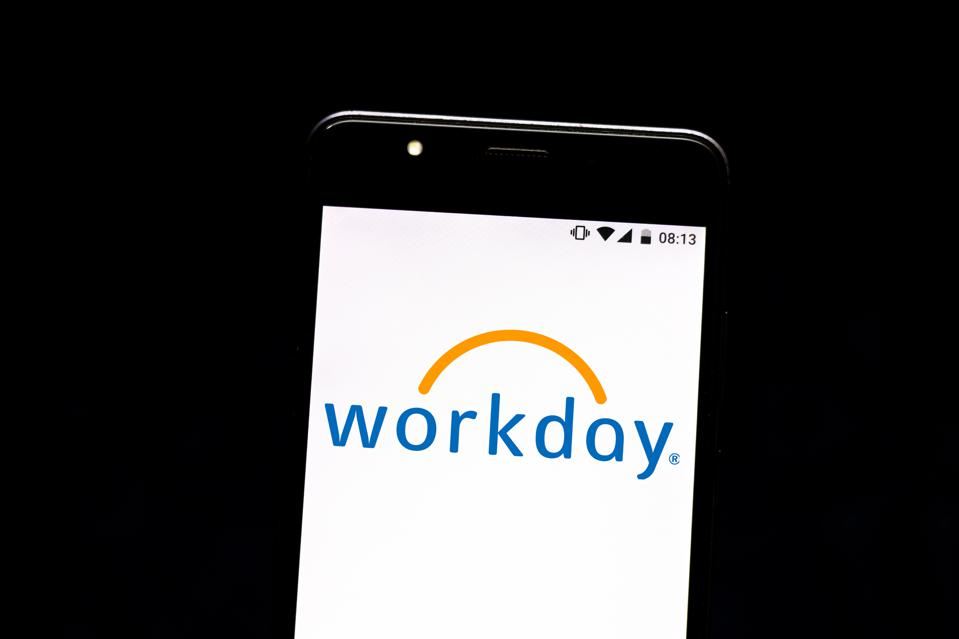 In this photo illustration the Workday logo is seen...