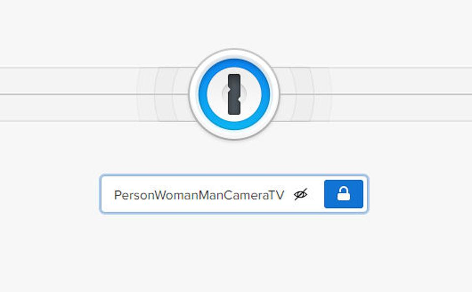 A password input box with a password of Person Woman Man Camera TV entered.