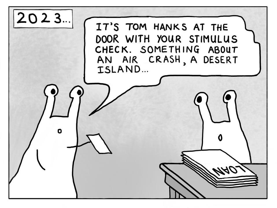 A joke about stimulus checks taking a long time to arrive.