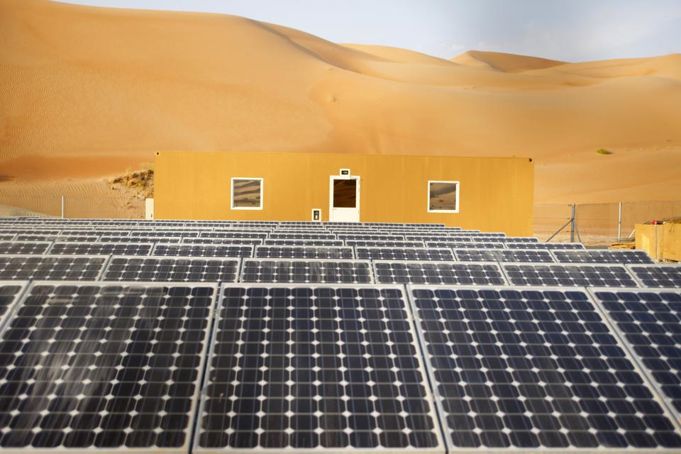 Solar panels in Liwa desert