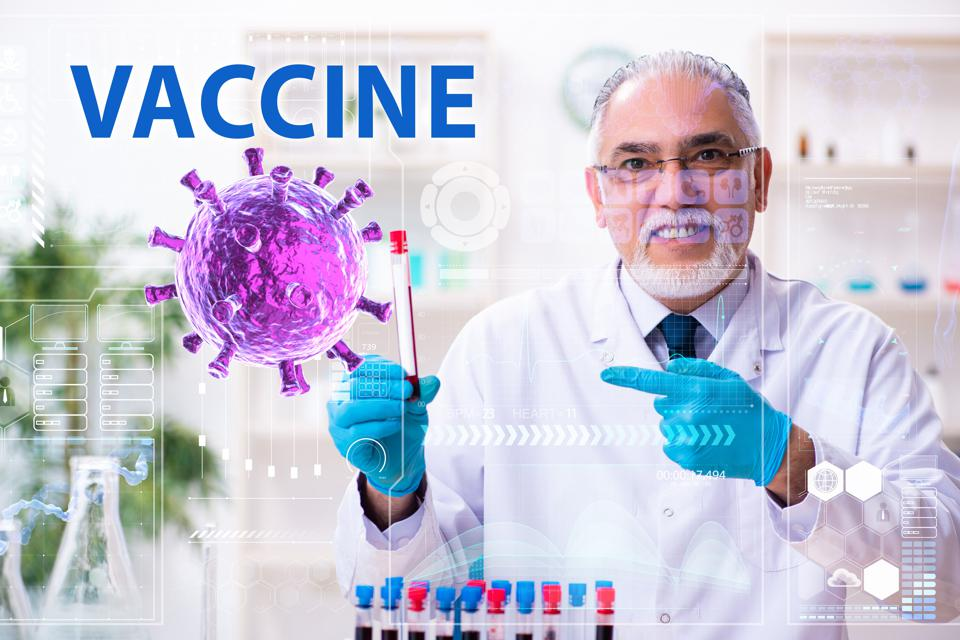 Medical researcher using technology to find a covid-19 vaccine.