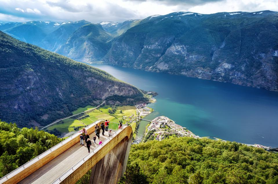 The Stegastein viewpoint of the Aurlandsfjord, Norway.