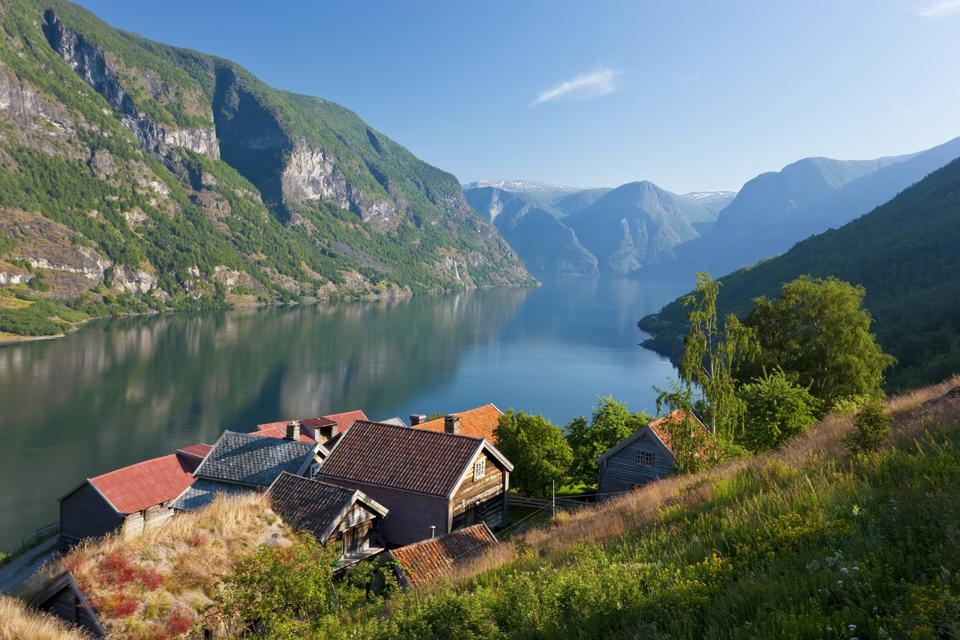 Otternes mountain village near Flam on the shores of the Aurlandsfjord, Norway.