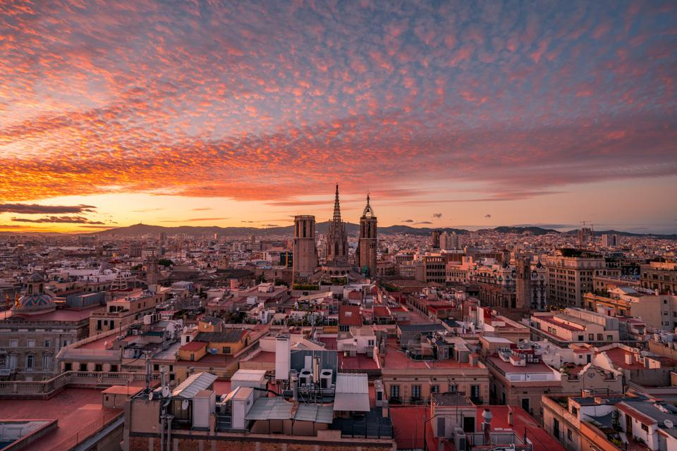 Barcelona Cathedral at sunset
