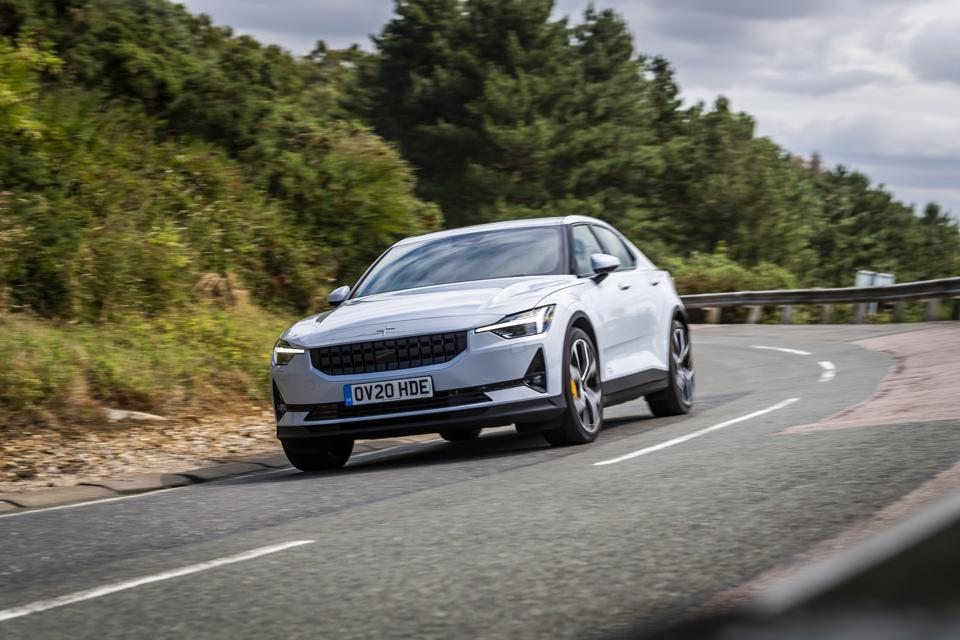 Front three-quarter view of the Polestar 2 electric car