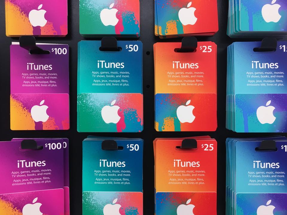 Buoni regalo musicali iTunes di Apple con valori diversi