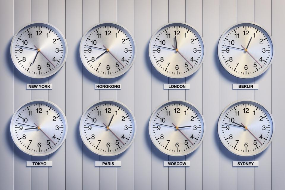 Clocks showing time differences