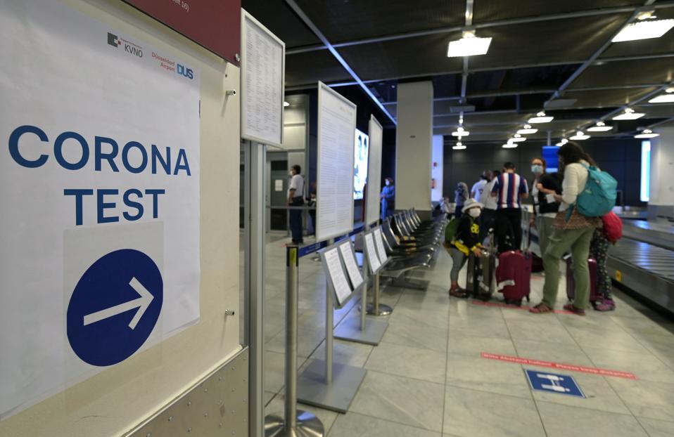 Covid coronavirus  test centre for passengers returning to Dusseldorf airport