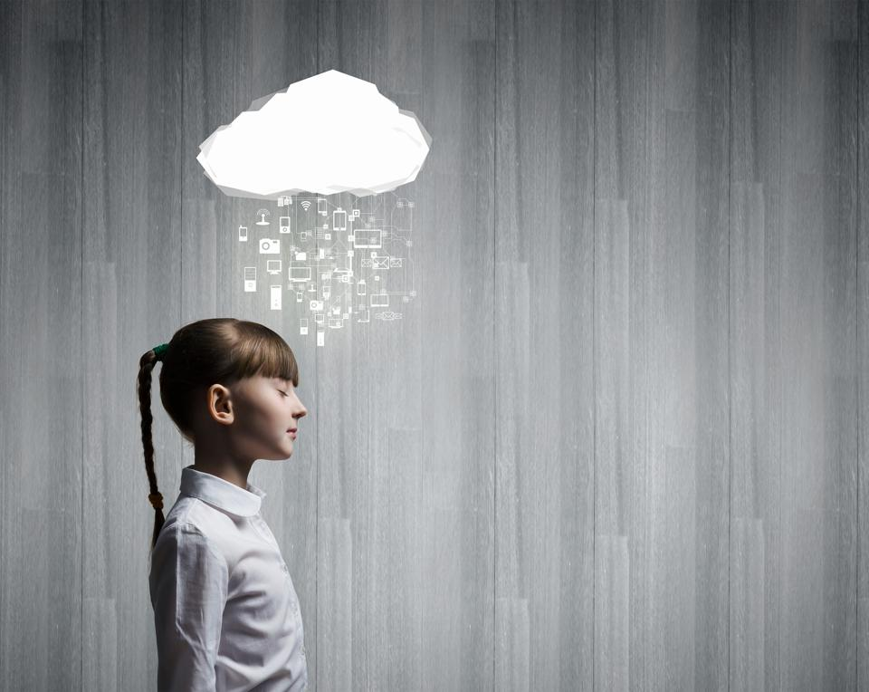 girl with cloud technology overhead