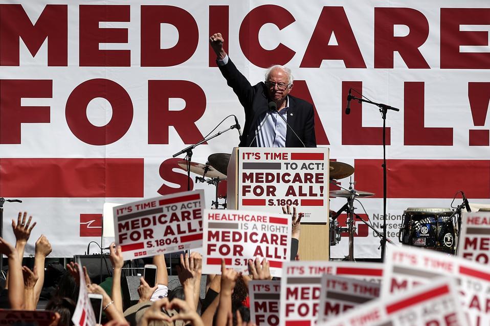Bernie Sanders Discusses Medicare For All Bill In San Francisco