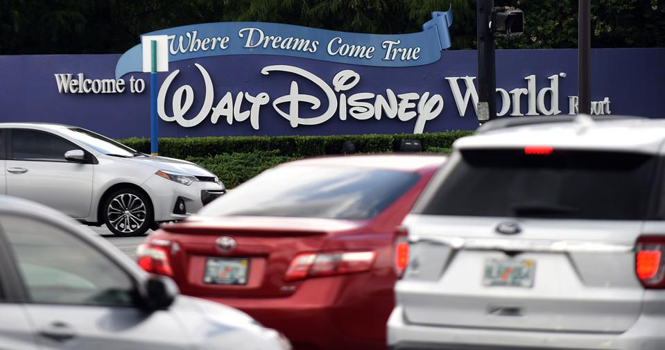 Heavy traffic is seen at the entrance to Walt Disney World...