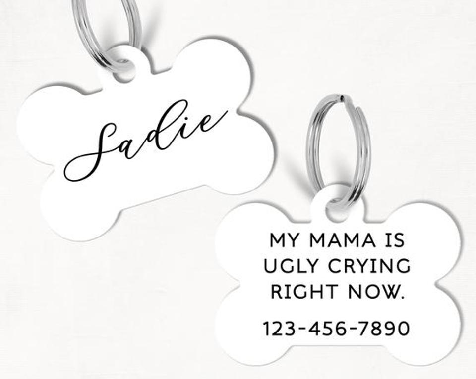 Black Calligraphy Personalized Dog Tag