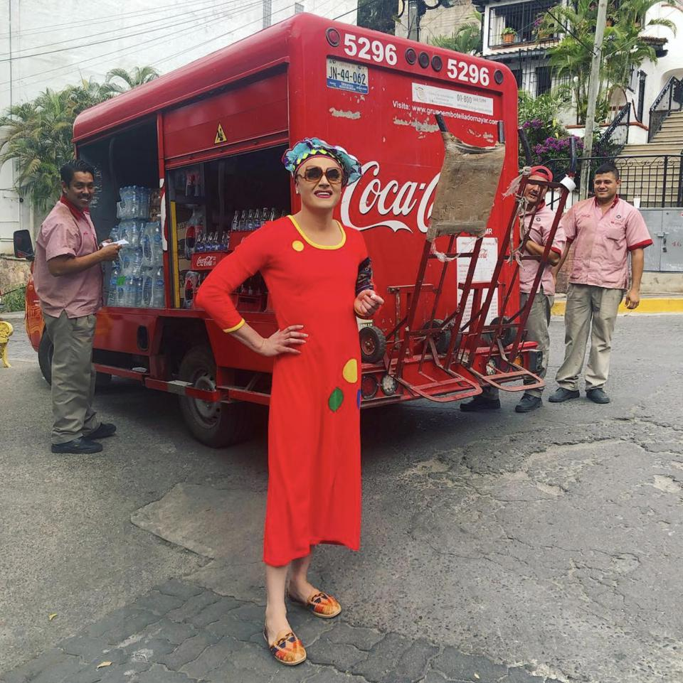 drag queen tammie brown in mexico with coca cola truck