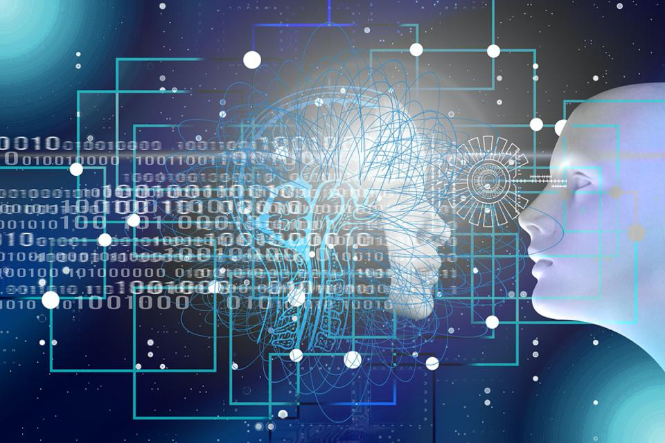 Stock image of binary code and human faces.