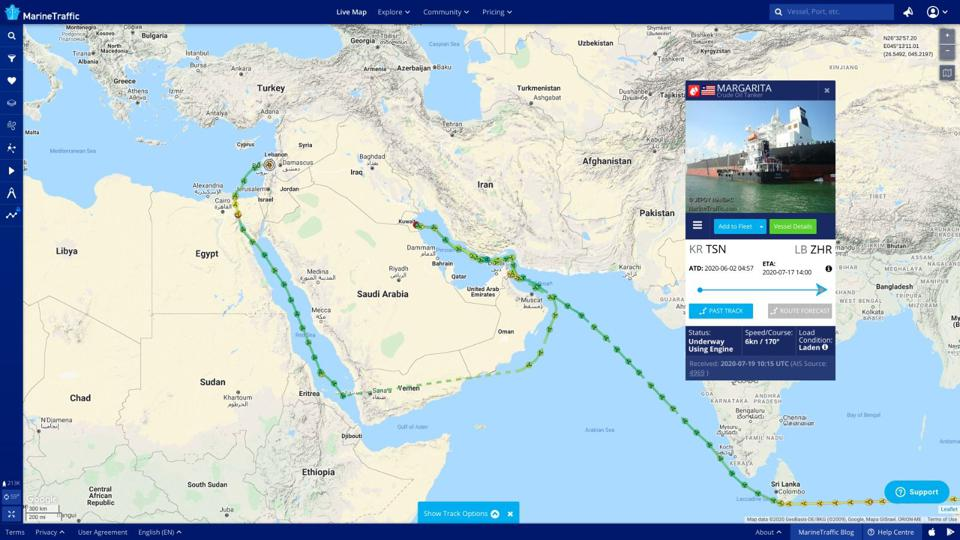 A map showing the course of a tanker that sailed from Kuwait to Lebanon.