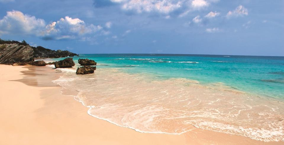 A pink sand beach and turquoise water