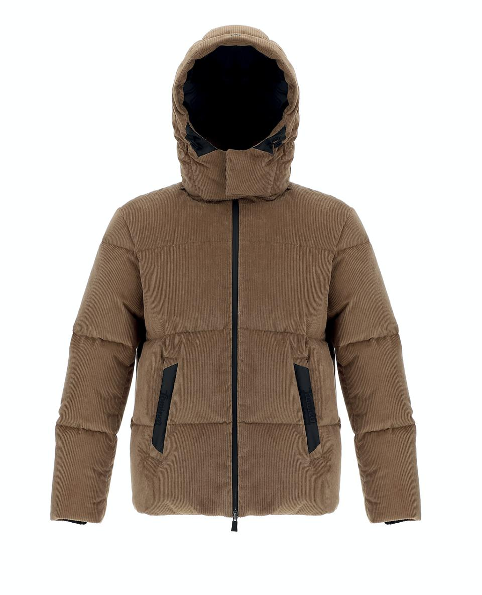Herno Laminar Sartorial Engineering Jacket: Tan cotton corduroy zip front down puffer.  Corduroy is bonded to an inner layer membrane which makes it completely waterproof.  Features zip off hood.