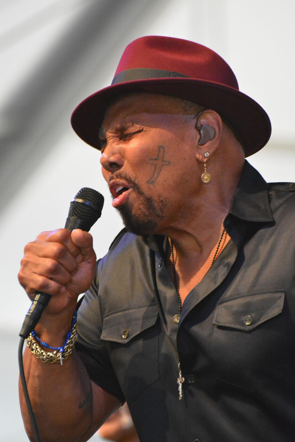 Famous New Orleans musician Aaron Neville on stage