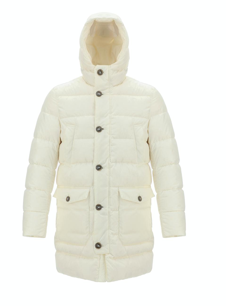 Herno Globe Jacket: Winter white puffer made from Econyl nylon that comes from recycled fishing nets and fabric/carpet remnants headed to landfills