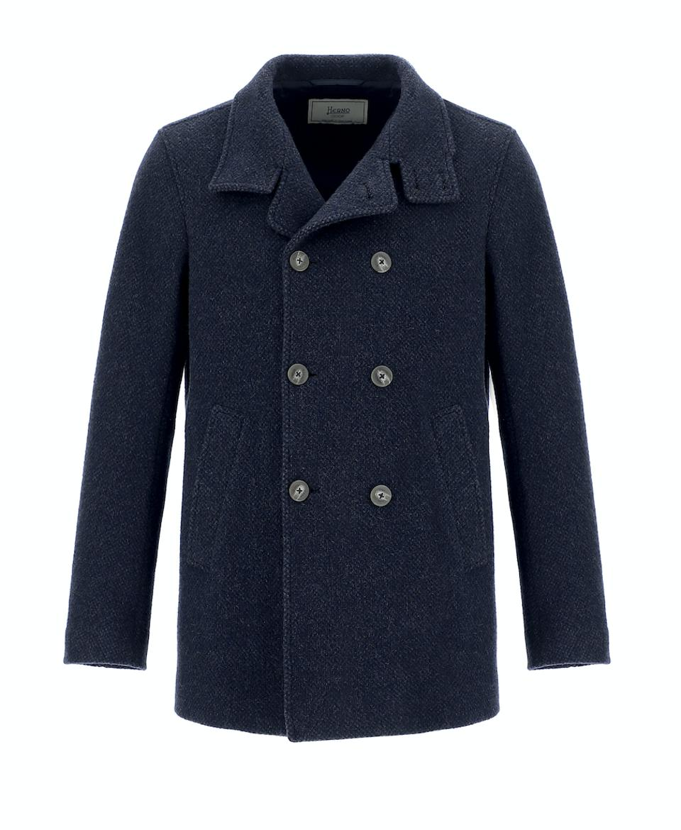 Herno Globe Jacket: Navy blue peacoat made from recycled wool fabric, findings and padding
