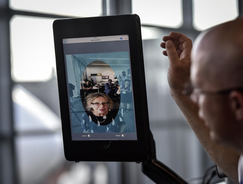 SAS airlines and Dulles airport officials unveil new biometric facial recognition scanners , on September, 06, 2018 in Dulles, VA.
