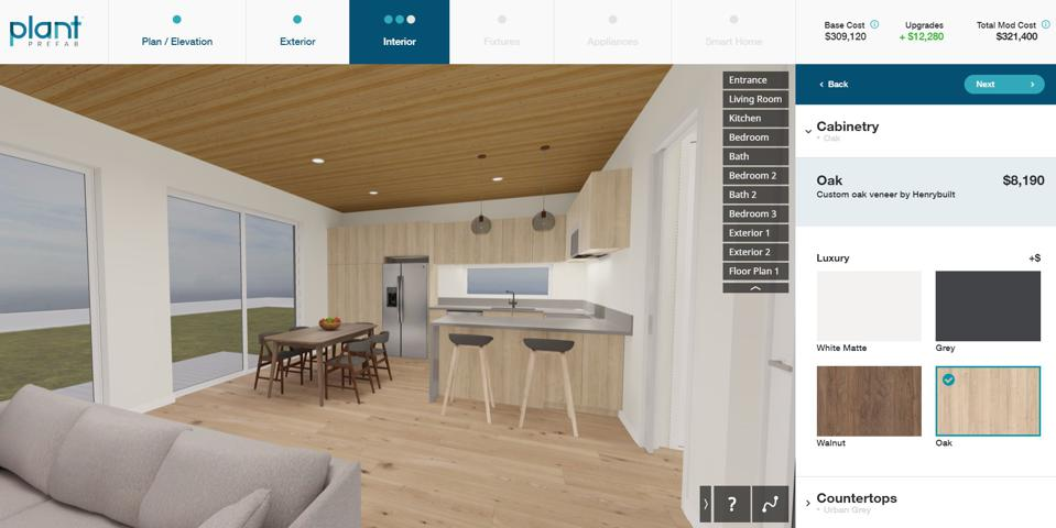 Online design tool showing a kitchen and upgrade options and costs.