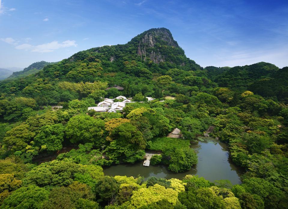 A green mountainous area in Kyushu, Japan.