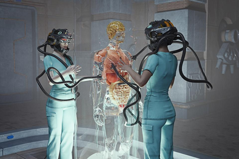 Doctors wearing virtual reality headsets learning medical techniques and knowledge