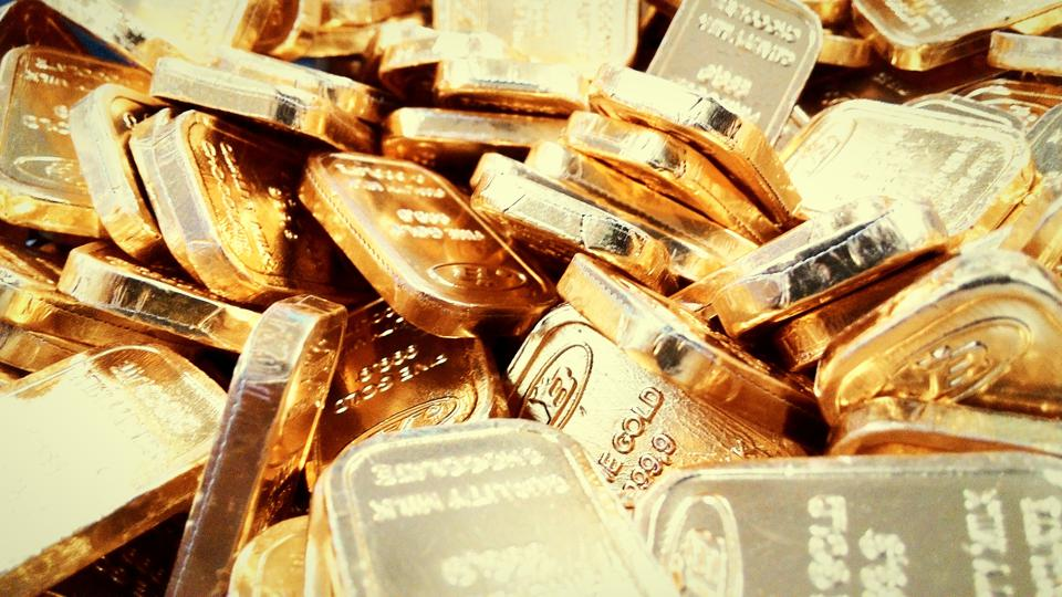 Full Frame Shot Of Gold Bars