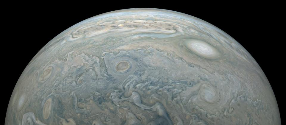 Jupiter as captured by Juno on July 28, 2020.