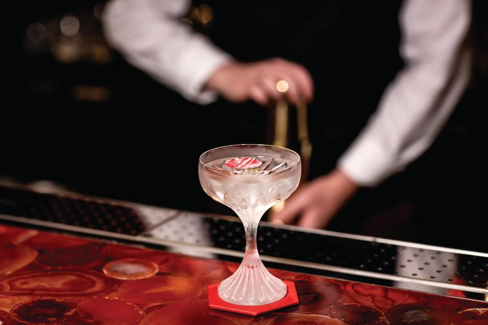 coupe glass at Baccarat bar london harrods