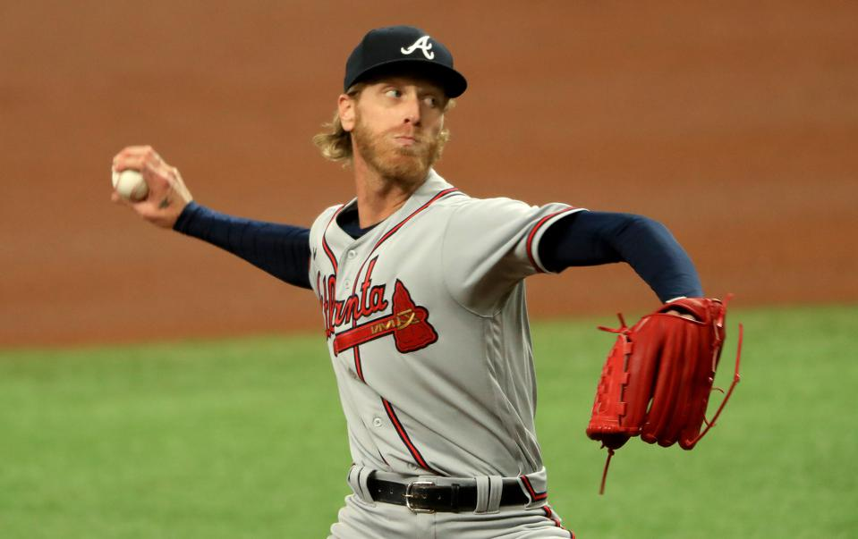 Mike Foltynewicz pitching against Tampa