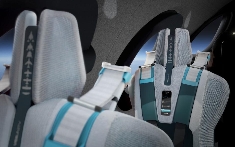 Seatbacks of the interior cabin on SpaceShipTwo