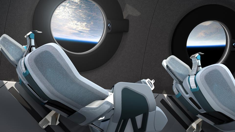 Reclined seats aboard SpaceShipTwo