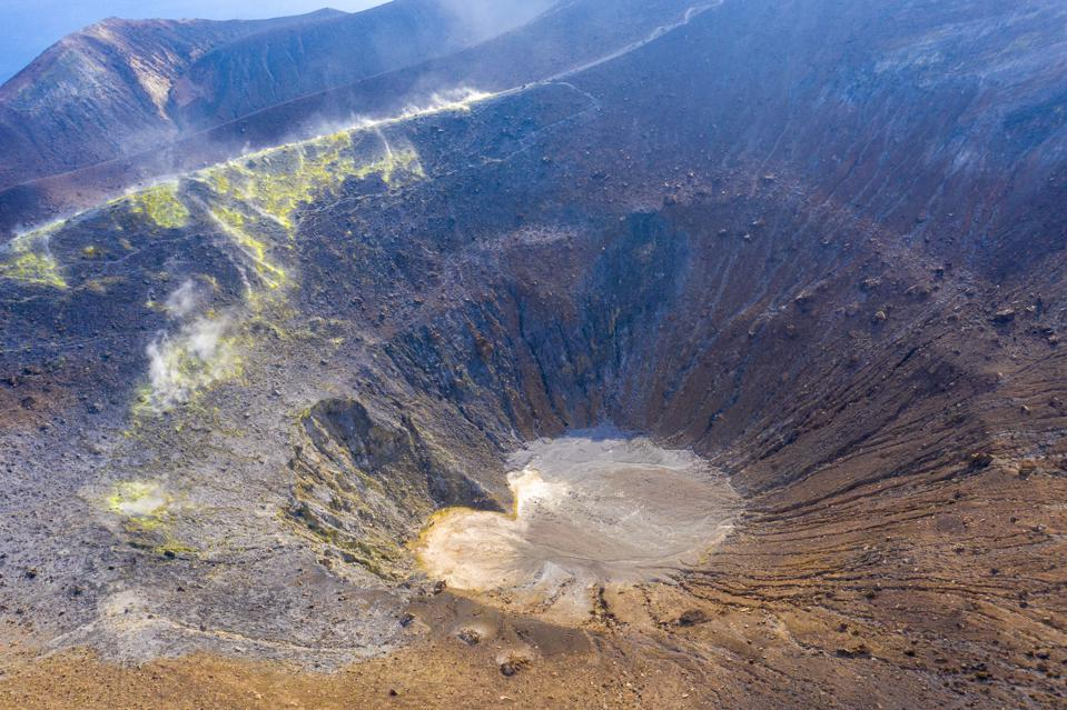 volcano crater with fumaroles in vulcano at eolian island, Sicily