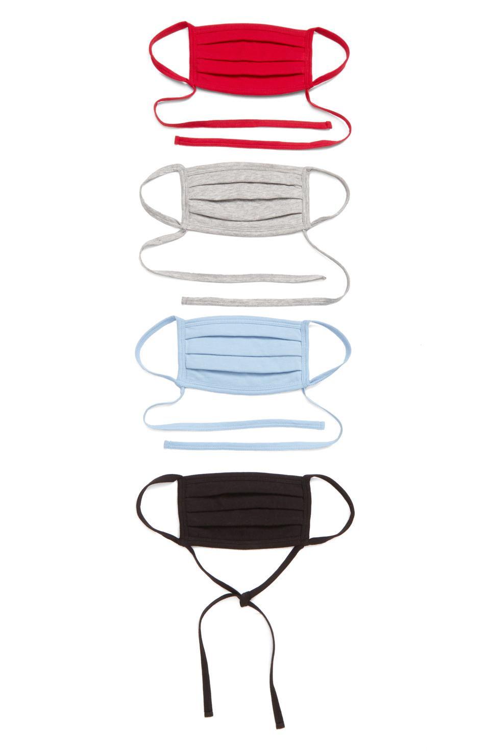 4-Pack Adult Pleated Face Masks