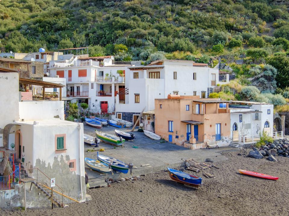 Fishing village of Rinella in Salina, the second largest island of the Aeolian archipelago (Sicily, Italy)