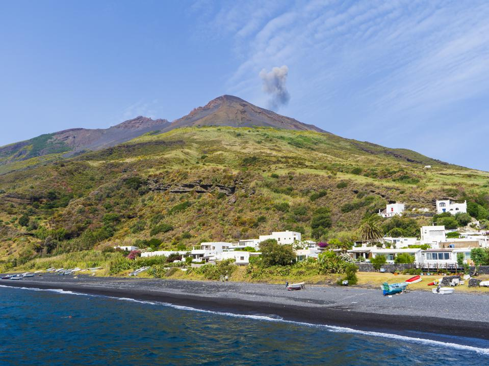 The majestic Eolian island of Stomboli view from the sea, active volcano in Italy