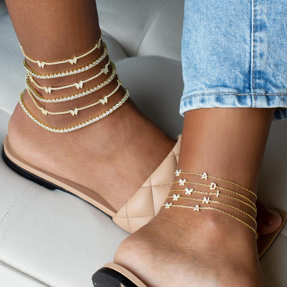 Adina's Jewels new Pavé Butterfly Initial Anklet in Gold