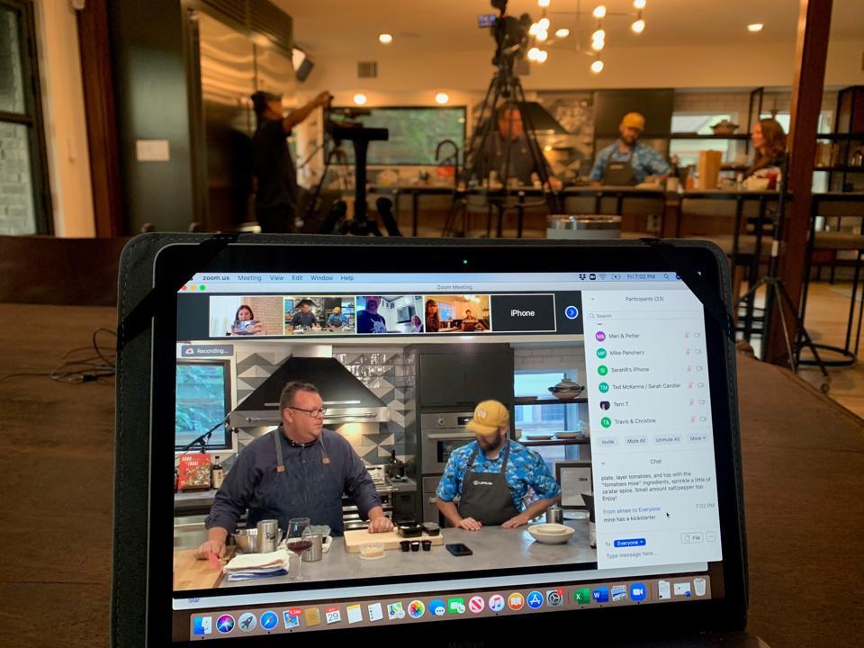 Houston chef Chris Shepherd on screen teaching a cooking class.