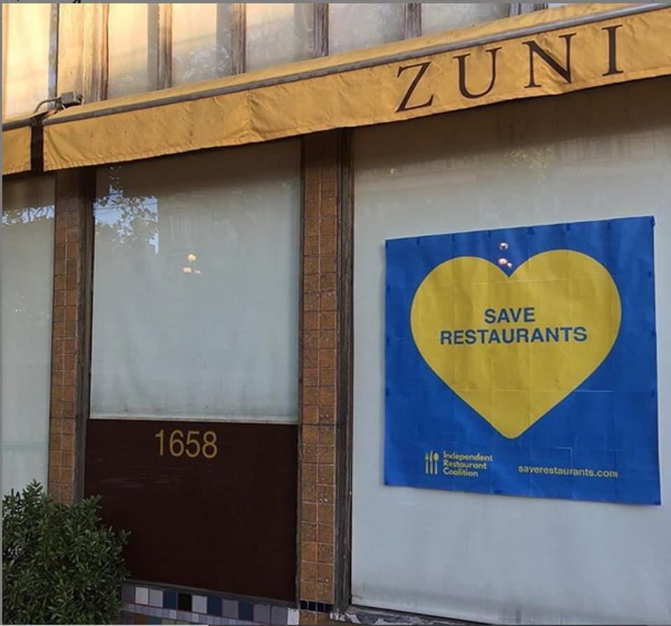 Facade of currently shuttered Zuni Cafe.