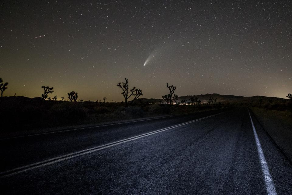 Comet NEOWISE in Joshua Tree, California. The comet is currently visible after sunset in the Northern Hemisphere. (Photo by Rich Fury/Getty Images)