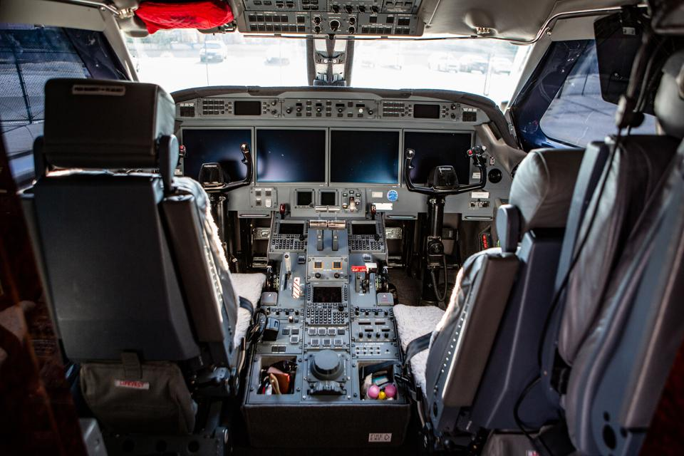 The cockpit of a Jet Edge plane