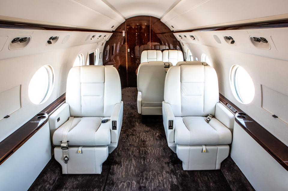Inside a private Jet Edge plane