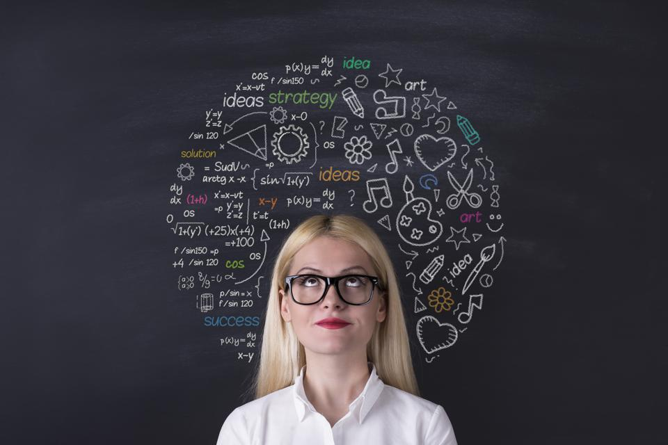 Businesswoman brain on the blackboard, neural pathways, diverse inputs, new perspectives