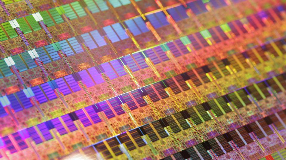 Intel processor chips come off the manufacturing line.