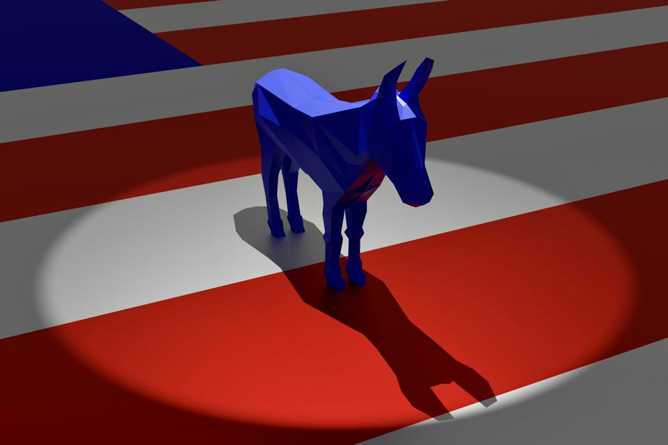 Democratic Blue Donkey in Spotlight on Top of American Flag
